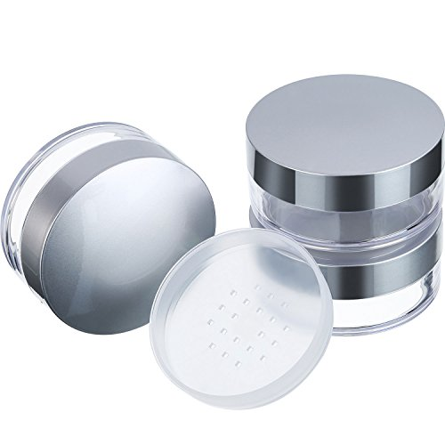 Hotop 3 Pieces 50 ml Plastic Empty Powder Case Face Powder Makeup Jar Travel Kit Blusher Cosmetic Makeup Containers with Sifter and Lids (Silver without powder puff)