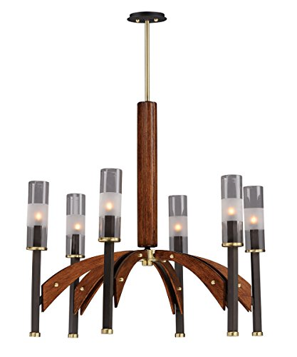 Pecan Finish Chandeliers - Chandeliers 6 Light Bulb Fixture with Bronze and Antique Pecan Finish Steel and Wood and Glass Material G9 Bulbs 29 inch 240 Watts