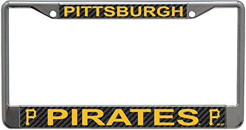 - Stockdale Pittsburgh Pirates Carbon Fiber Design LASER FRAME Chrome Metal License Plate Tag Cover Baseball
