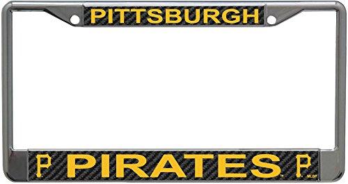 Stockdale Pittsburgh Pirates Carbon Fiber Design LASER FRAME Chrome Metal License Plate Tag Cover Baseball