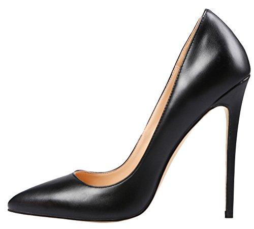 MONICOCO Women's Stiletto Heel Plus Size Shoes Pointed Toe Pump PU Black 6 (Black Microfiber Heels)