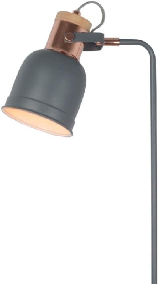 Not Included 1 x E27 ES Lamp Bulb Required 168cm Height Britalia 471078 Barham Matt Grey /& Copper Vintage Adjustable Floor Lamp