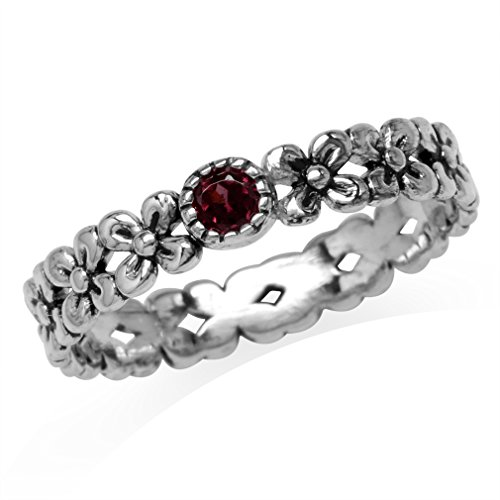 Sterling Silver Garnet Flower Ring (Petite Natural Rhodolite Garnet 925 Sterling Silver Flower Stack/Stackable Eternity Ring Size 4)