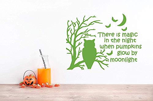 Funny There is Magic in The Night When Pumpkins Glow by Moonlight Spooky Tree Owl Bats Halloween Art Sayings Mural Wall Decals Decor Vinyl Sticker Q4890]()