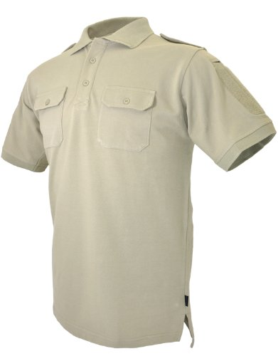 Hazard 4 Quickdry LEO Battle Polo Tactical Velcro-Arm-Patch/Chest Pockets Breathable Shirt - Tan APR-QDLEO-BLK-L-P