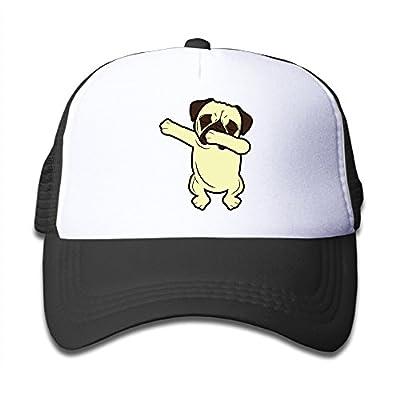 Funny Dabbing Pug Cute Dabbing Dog Kids Mesh Cap Baseball Hat Cap Adjustable Black