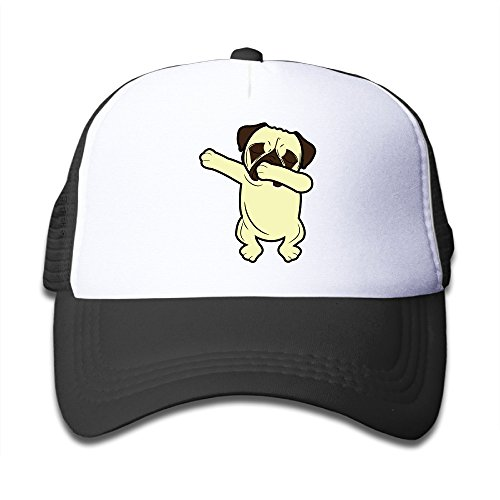 te Dabbing Dog Boys Girls Mesh Cap Baseball Hat Cap Adjustable Black (Funny Pug)