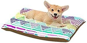 "Kess InHouse Sreetama Ray ""Stripes Cushion"" Rainbow Chevron Dog Bed, 18 by 28"""