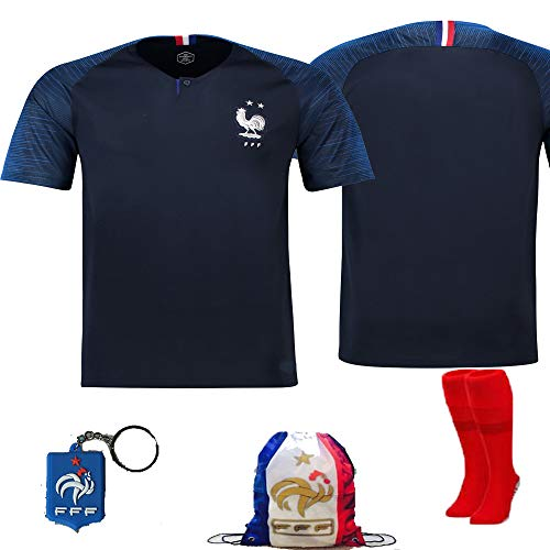 France Soccer Team Pogba Griezmann Mbappe Kid Youth Replica Jersey Kit : Shirt, Short, Socks, Bag, Key, Please Check Size Chart (France No Name No Number, Size 28 (11-12 Yrs Old Approx.)) ()