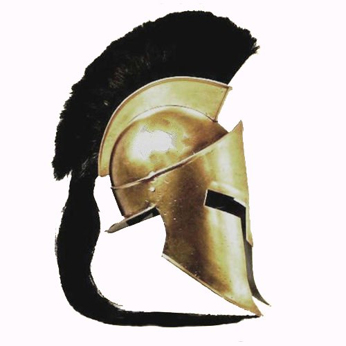 Queen Brass 300 King Spartan Greek Helmet with Long Tail Black Plum Liner and Inner Cap Standard Gold and -