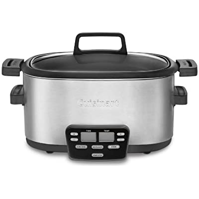 Click for Cuisinart 3-In-1 Multi-Cooker, Slow Cooker, Steamer and Brown/Saute Options with Extra-Large Blue Backlit LCD Display and Glass Lid with Cool Touch Handles, Includes Automatic Keep Warm Feature