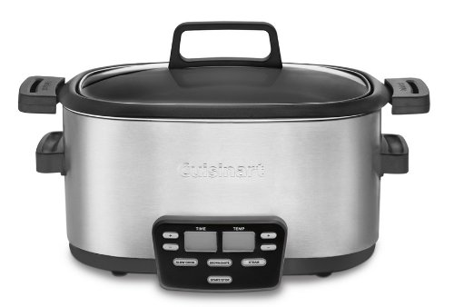 Cuisinart 3-In-1 Multi-Cooker, Slow Cooker, Steamer and Brown/Saute Options with Extra-Large Blue Backlit LCD Display and Glass Lid with Cool Touch Handles, Includes Automatic Keep Warm Feature (Cuisinart 6 Quart 3 In 1 compare prices)