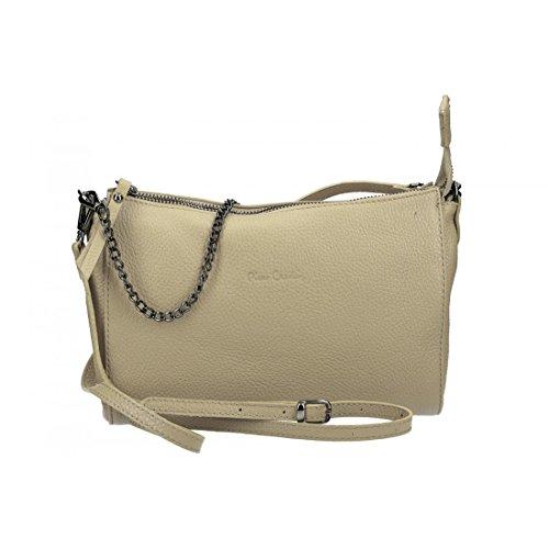 Bolsa mujer de hombro mini PIERRE CARDIN taupe en cuero Made in Italy VN2749