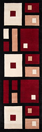Momeni Rugs NEWWANW-50BLK2680 New Wave Collection, 100% Wool Hand Carved & Tufted Contemporary Area Rug, 2'6