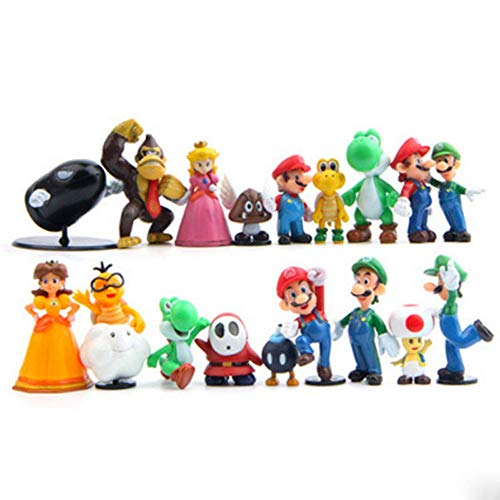 18 Piece Super Mario Bros Super Mary Princess, Turtle, Mushroom, Orangutan, Super Mary Action Figures, 2″
