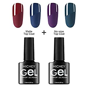 MICHEYGel Gel Nail Polish Set with Matte Top Coat and No Wipe Top Coat, Set of 6