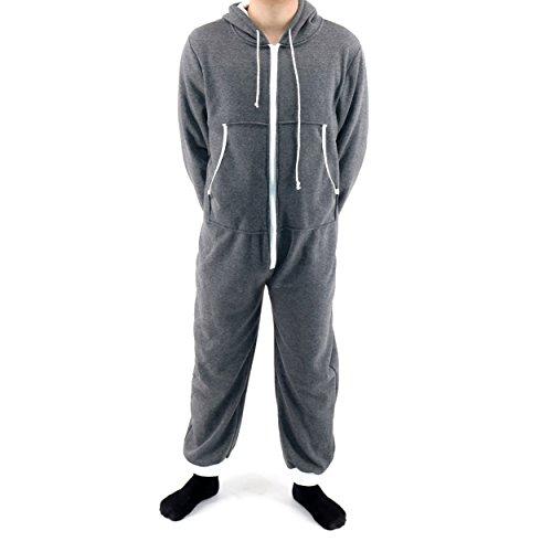(Jormarcos Unisex Onesie Jumpsuit Sportswear Zip Up Adult With Hoodie Pajama (Small, Dark Grey))