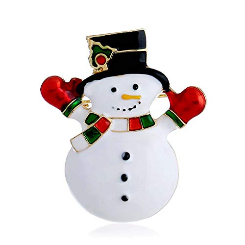 - YOUYUZU Winter Snowman Brooches and Pins Xmas Rhinestone Brooch for Women Jewelry Accessories