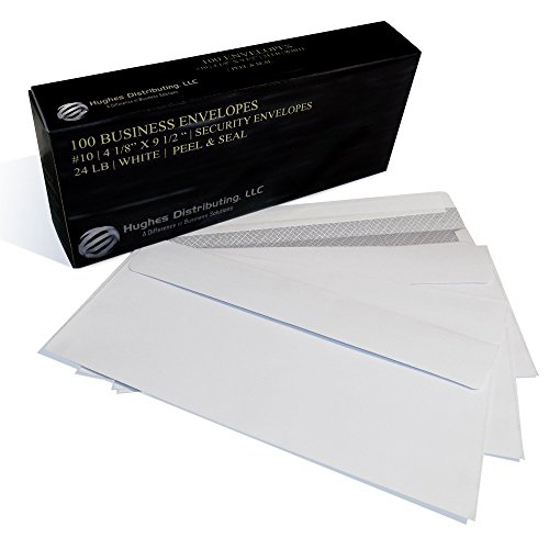NO #10 Security SELF SEAL Business Envelope No Window Premium Black Security Tint Ideal for Home Office Secure Mailing PEEL & SEAL Closure - 4-1/8 x 9-1/2 Inches - White - Tint Differences
