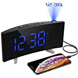 Alarm Clocks, [Upgrade Version] PICTEK HM268 Projection Alarm Clock with FM Radio, 5-inch Dimmable Screen, Kids Clock Radio with Dual Alarms, 3 Alarm Sounds, FM Sleep Timer and USB Port for iPhone Tablet, Digital Alarm Clock Projector for Bedroom Office