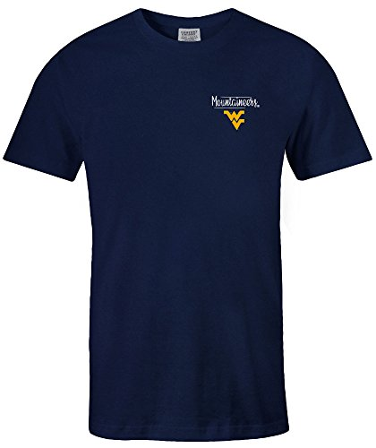 Image One NCAA West Virginia Mountaineers Adult Unisex NCAA Sketchbook Comfort Color Short sleeve T-Shirt, X-Large,Denim