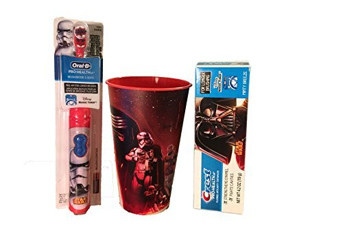 Ready Set Go - 3pc Star Wars Oral Hygiene Set 1) StormTrooper Battery Powered Spin Toothbrush 2) Crest Pro-Health Jr Disney Star Wars Toothpaste 3) Star Wars Rinse Cup (Jr Toothbrush Kids)