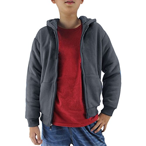 Youth Full Zip Sherpa Lined Fleece Hoodie For Boys Winter Warm Outdoor Sweatshirts With Pouch Pocket (Dark Grey, (Lined Zip Hoody)