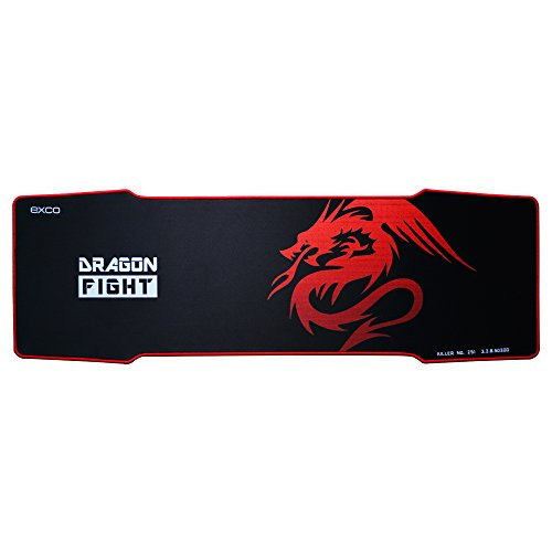Red Dragon-5mm Extended Gaming Mouse Pad XXL EXCOVIP Red Big Extra Large Long Gaming Pad Mat Professional Esport Computer Gaming Pad,Anti-Fray Rubber Backing 35