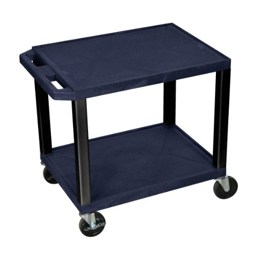 H.Wilson WT26Z-B Tuffy AV Cart Navy 2 Shelves Black Legs by Luxor