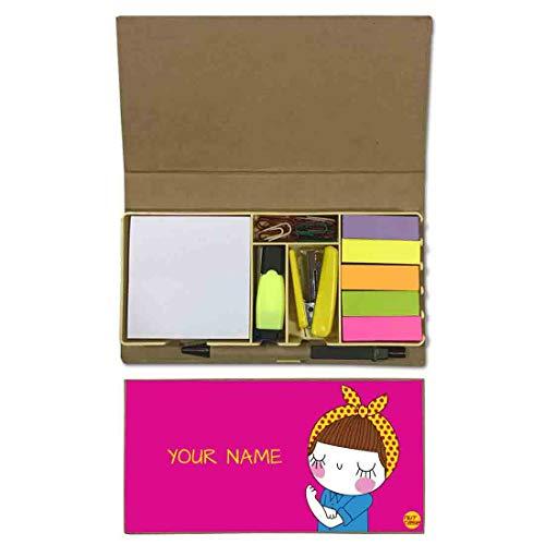 Customised Stationery - Nutcaseshop Personalized Stationary Kit Desk Customised Organizer Memo Notepad Sticky Note Tabs - Girl Power