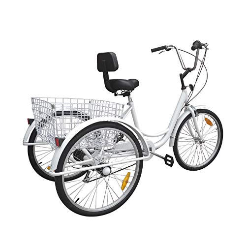 (Areyourshop 24 Inch Adult Tricycle Series 7 Speed 3 Wheel Bike Adult Tricycle Trike Cruise Bike Large Size Basket for Shopping, Exercise Men's Women's Bike, White )