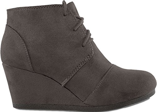 MARCOREPUBLIC Galaxy Womens Wedge Boots - (Charcoal) - -