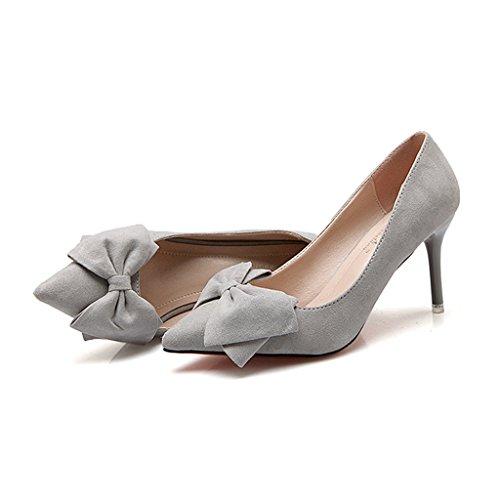 ALUK hauts chaussures talons de Gris mariage demoiselle pour de Shoes de femmes à chaussures travail taille sauvages Chaussures chaussures d'arc Couleur long225mm souliers 35 d'honneur Gris qCwqtYr