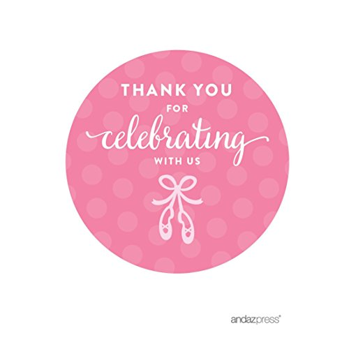 Andaz Press Birthday Round Circle Labels Stickers, Thank You for Celebrating With Us, Ballet Flats Shoes, 40-Pack, For Gifts and Party Favors -