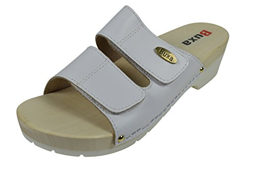 Sandals Loop Wooden Strap with Leather Clog White Natural Sole Ladies Hook Rubber amp; q8ETwIz