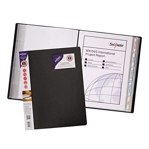 - Snopake A4 Indexed Display Book with 40 Pocket - Black
