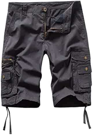 ade2a392142e80 LUCAMORE Men's Casual Solid Outdoors Pocket Beach Work Trouser Cargo Shorts  Pant