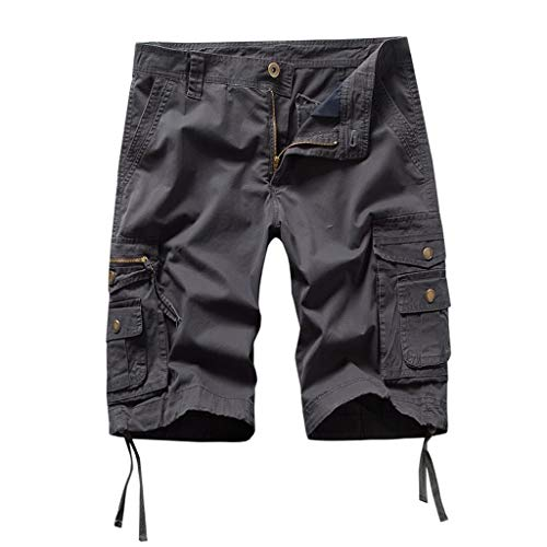 LUCAMORE Men's Casual Solid Outdoors Pocket Beach Work Trouser Cargo Shorts Pant Dark ()