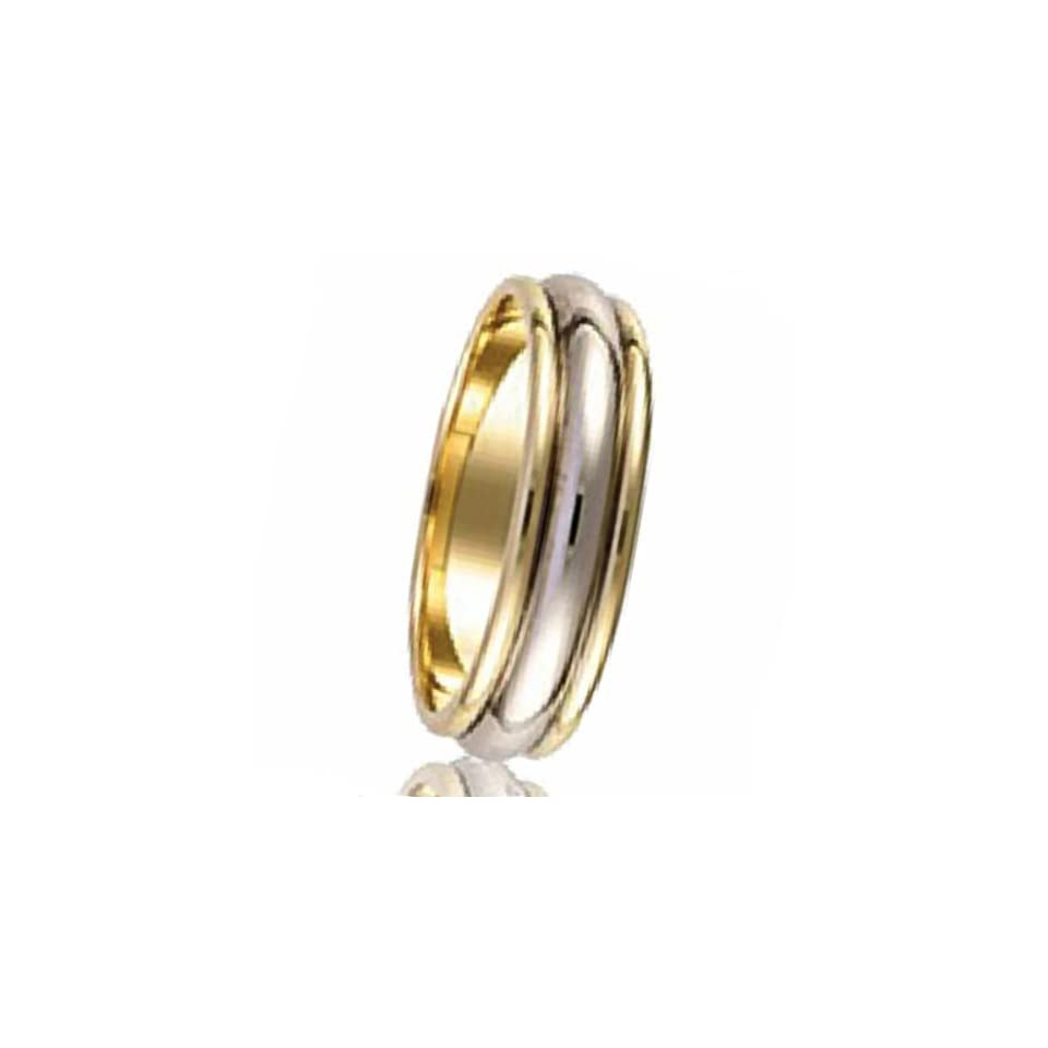 14k Yellow & White Two Tone Gold Mens Domed Grooved Wedding Anniversary Band 5 mm Traditonal Fit Ring (Size 9.75)
