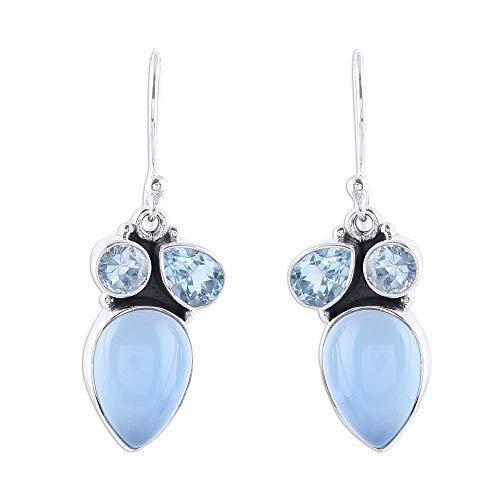 NOVICA Multi-Gem Chalcedony .925 Sterling Silver Dangle Earrings, Natural Dazzle' (Blue Earrings Topaz Chalcedony)