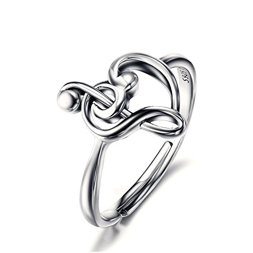 BGTY 925 Sterling Silver Resizable Treble Clef Bass Heart Music Note Ring for Women (USA Size 7-9)