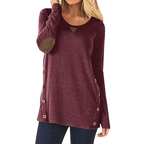 Rambling Womens Side Buttons Long Sleeve Casual Crew Neck Elbow Patched Sweatshirt Loose T Shirt Blouses Tops
