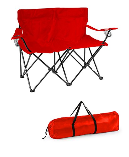Trademark Innovations Loveseat Style Double Camp Chair with Steel Frame, Red