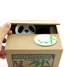 Cute Animal Style Stealing Coins Cents Penny Buck Saving Money Box Pot Case Piggy Bank(Panda)