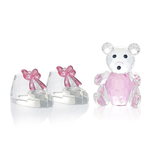 H&D Crystal Bear Figurine and Cute Pink Crystal Shoes Christmas for her -