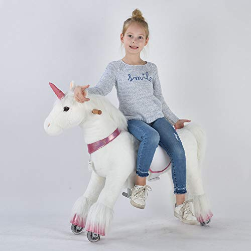 UFREE Horse Action Pony, Ride on Toy, Mechanical Moving Horse, Giddyup for Children 4 to 9 Years Old, Medium Size, Height 36 Inch (Pink Horn Unicorn) from UFREE