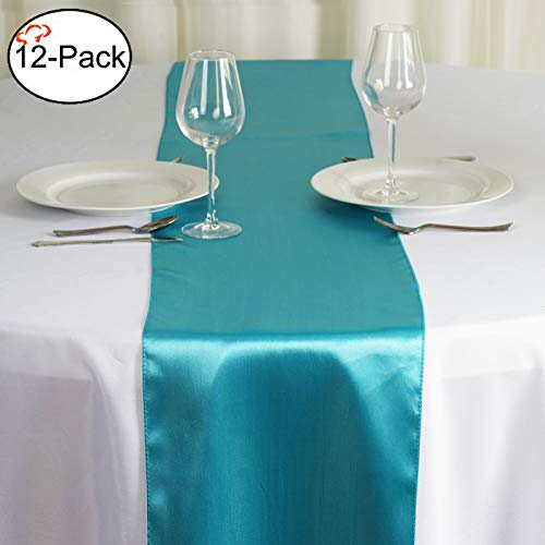 Aqua Sweet 16 Decorations (Tiger Chef 12-Pack Turquoise 12 x 108 inches Long Satin Table Runner for Wedding, Table Runners fit Rectange and Round Table Decorations for Birthday Parties, Banquets, Graduations,)