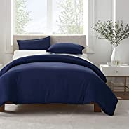SERTA Simply Clean Ultra Soft Hypoallergenic Stain Resistant 2 Piece Solid Duvet Cover Set, Navy, Twin/Twin XL