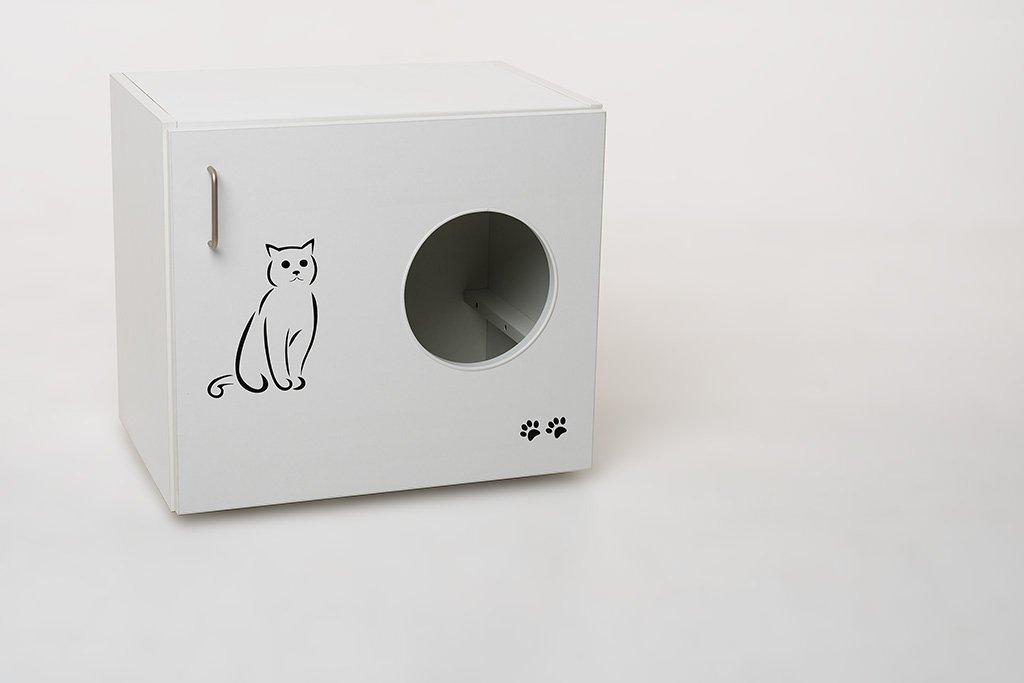 Katzenschrank Feline Sonderedition mit Liegekissen Katzenklo Katzentoilette incl. Kunststofftoilette und Streuschaufel B / H / T 60 x 53,5 x 41 cm