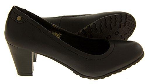 Coconel Mujer Imitación de Cuero Zapatos Formales Bloque de Tacón Negro